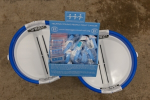 Teenage Cancer Trust Buckets Ready for the Exhibition and gig