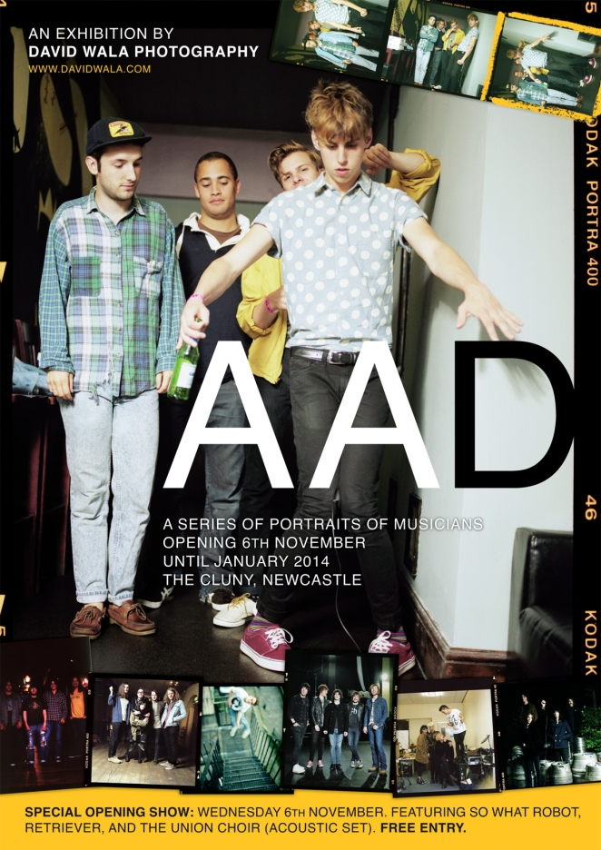 A poster for the A A D exhibition at The Cluny in Newcastle