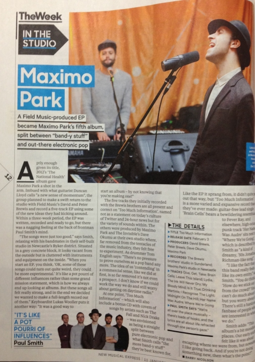 My Maximo Pictures in the NME from January 2014