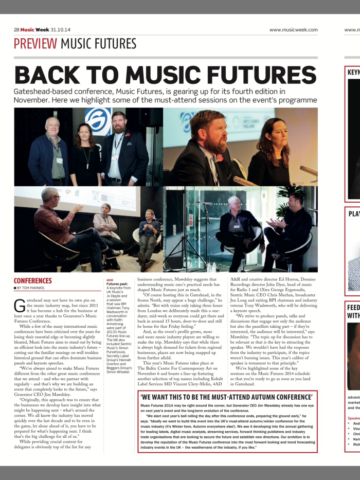 Music Futures Conference images featured in Music Week - 31st October 2014